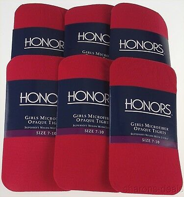 6 Pairs Red Scarlet Honors Girls Microfiber Opaque Tights Med Supersoft Made US