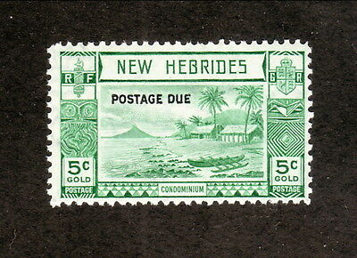New Hebrides (British)--#J6 MNH--1938 Beach Scene--Postage Due Overprint