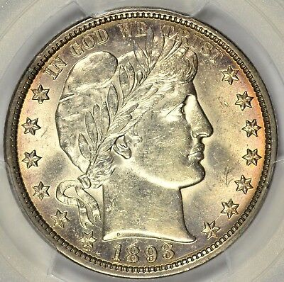 1893 Barber Half Dollar PCGS AU58 Gorgeous Gem Example!  #ARY0618