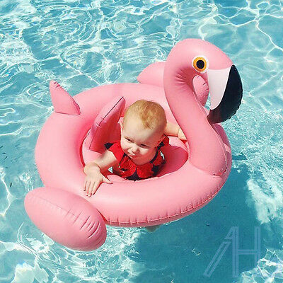 UK Baby Pink Flamingo Inflatable Swimming Aid Trainer Seat Ring Infant Water Toy