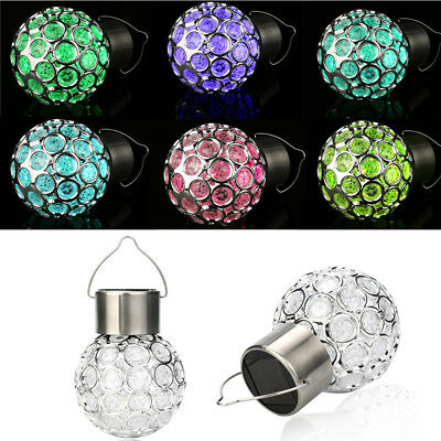 Solar Rotatable Outdoor Garden Hanging LED Light Lamp Round Ball Bulb Waterproof