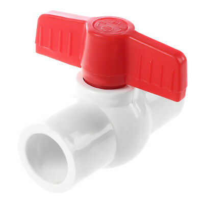 20mm x 20mm Slip Plumbing T Handle Full Port PVC-U Ball Valve white+red S8X2
