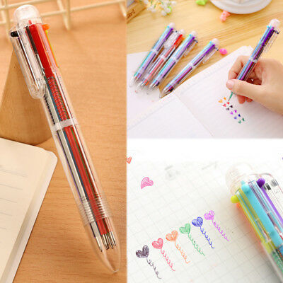 Multi-color 6 in 1 Color Ballpoint Pen Ball Point Pens Kid School Office Supply.