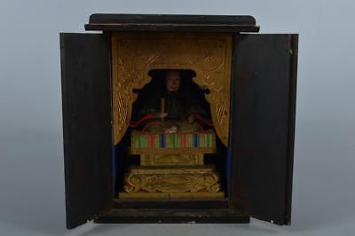 M7645: Japanese Wood carving ORNAMENTS Zushi, miniature shrine in a temple