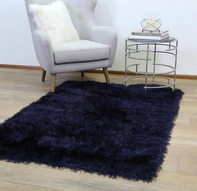 Evalee Navy Blue Shaggy Rug Soft Thick Shag Carpet FREE DELIVERY