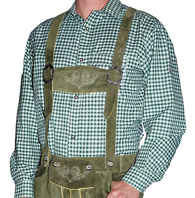 GREEN WHITE Striped Shirt Long Short Sleeve German Lederhosen Oktoberfest M L XL