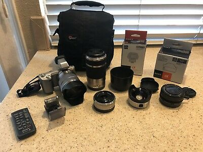 Sony NEX 5n 16.1MP Camera with 5 lenses, EVF, Remote and Carrying Case