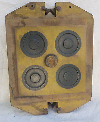 """Large Industrial Yellow Vintage Foundry Wood Mold Machine Age Steampunk 19"""" x 14"""