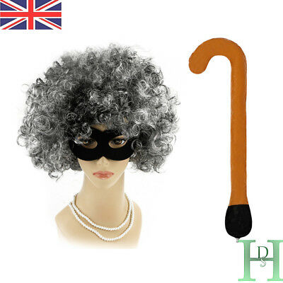 Gangster Granny Grey Old Lady Wig AFRO /& EYE MASK World Book Day Fancy Dresses