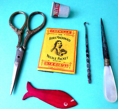 Antique Sewing Fish Winder Button Hook,stiletto Fancy Scissors Thimble,needles