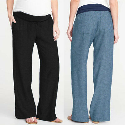 Oversized Maternity Women Pregnancy Cotton Casual Loose Long Pants Trousers New