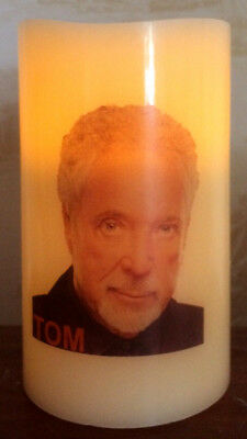 TOM JONES ELECTRONIC FLICKERING WAX CANDLE flameless BATTERY OPERATED