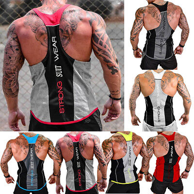 Gym Men Vest Bodybuilding Tank Top Muscle Clothing Stringer T-Shirt short casual