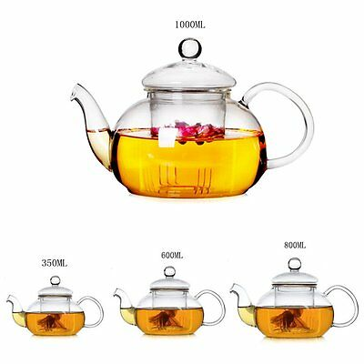 Heat Resistant Glass Teapot with Infuser Coffee Tea Leaf Herbal 350ML-1000ML