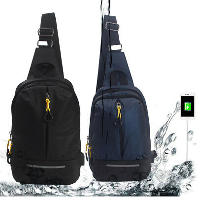 Waterproof Crossbody Backpack Sling Bag For Men Boy USB Charger Ports