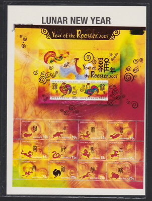 2005 Christmas Island ZODIAC SHEETLET  Lunar New Year - Year of the Rooster MNH