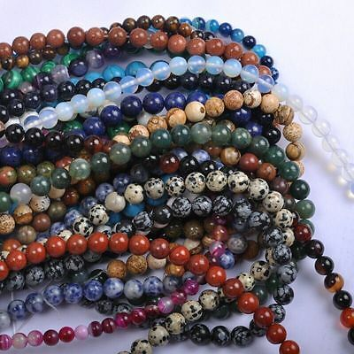 4/6/8/10/12MM Natural Gemstone Round Spacer Loose Beads for Jewellery Accessory