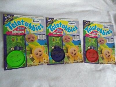 3 x Teletubbies Magazine Issue 1, Red Blue Green Tubby Toast Cutter and Stickers