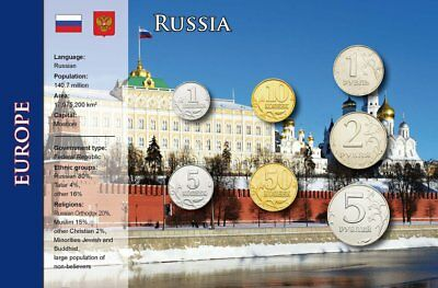 Russia, 1 Kopek - 5 Roubles, 7 Coins, World Coin Set english