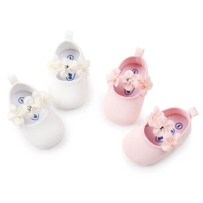 Girls Baby Child Kids Christening Satin Flower Party Princess Shoes Soft Soled