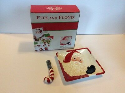 """New Fitz and Floyd """"Letters To Santa"""" Snack Plate with Spreader 49-415"""