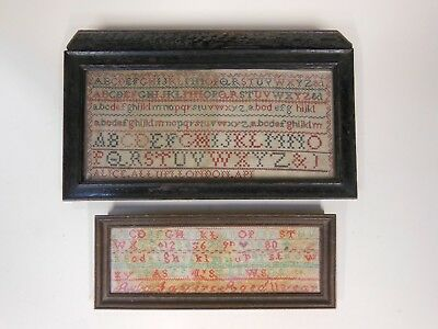 2 Antique Alphabet Samplers - one dated 1880