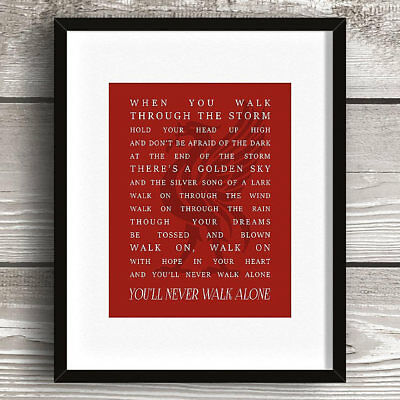 Liverpool Football Club Lyrics Words Song Print Picture Gift Logo