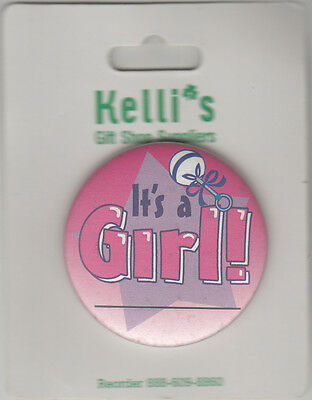 """It's A Girl Birth Announcement Button Pin, 2"""" x 2"""", New, Pin Back"""