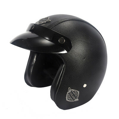 Open Face Helmet Leather Motorcycle Half Biker Cruiser Scooter Touring Black 2
