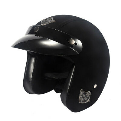 Open Face Helmet Leather Motorcycle Half Biker Cruiser Scooter Touring Black 3