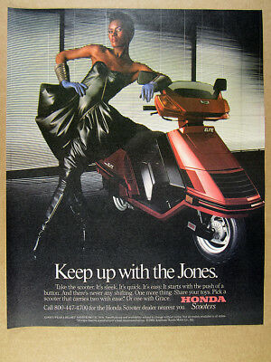 1984 grace jones photo Honda ELITE Scooter vintage print Ad