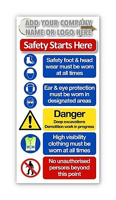 Construction Sites Sign / Building Site Safety Sign / Free Company Name or LOGO