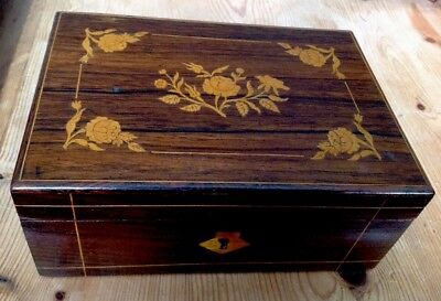 Antique Victorian TREEN - ROSEWOOD BOX INLAID ROSE PATTERN ON LID - Lock No Key