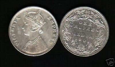 INDIA 1 RUPEE 1901 QUEEN VICTORIA SILVER CURRENCY MONEY BRITISH Indian COIN