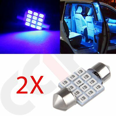 2x 31mm 12SMD Super Blue Festoon 2835 Dome Map Interior LED Light Bulbs DE3021