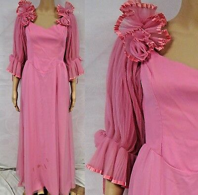 Vintage 70s Dress Maxi Sheer Ruffle Pleated Pom Pink Formal Wedding Party Retro