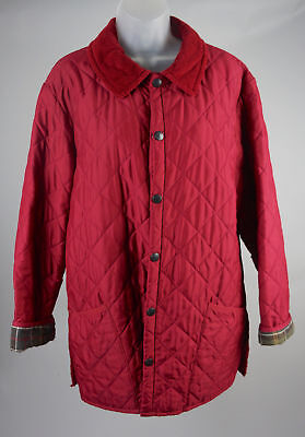 Men's Barbour Red Quilted Classic Eskdale Jacket Coat Size M