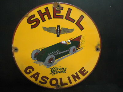 "12"" Rare! Old 1929 Shell Green Streak Gas  Porcelain Gas Sign! Property Of Shell"