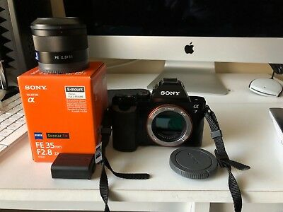 Sony Alpha a7 24.3MP Digital Mirrorless Camera Black and Sony Zeiss 35mm