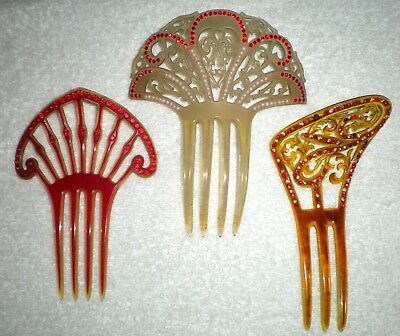 Lot Of 3 Vintage Red Rhinestone Celluloid Hair Combs