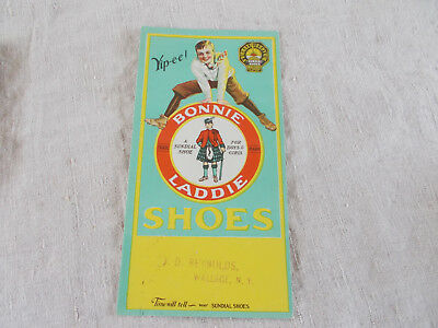 Advertising Vintage Ink Blotter Bonnie Laddie Shoes J.D. Reynolds Wallace N.Y.