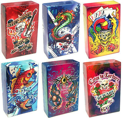 Eclipse Tattoo Design Hard Plastic Crushproof Cigarette Case, 2ct Kings 3116Tat1