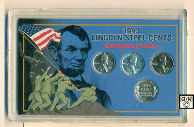 1943 lincoln Steel Cents Emergency Issue United States Minted Coin Set (OOAK)