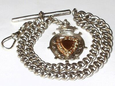 Antique 1906 Solid Sterling Silver Graduated Albert Watch Chain & Fob,henry Pope