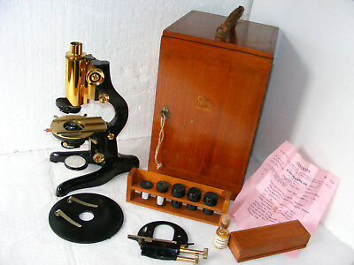 "Superb  Watson  ""patna""  Microscope  With Two  Removable  Stages &  Accessories"