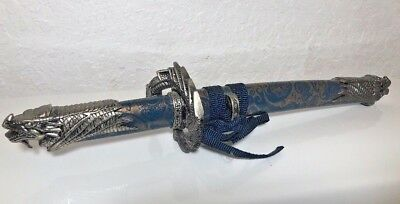 Old Antique Chinese Knife Holder Set Dragon Blue Case Details Decoration 2 Set