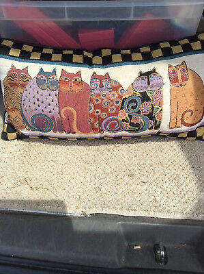 "Laurel Burch Feline Mr Joi's Oblong Decorative Tapestry Throw Pillow 23"" Face"