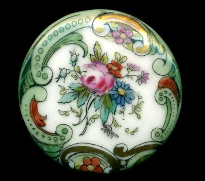 """Antique Button…Large French Porcelain…Back Marked """"DEPOSE""""….Rose w Rococo Border"""