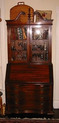 Desk: Antique 1930's Mahogany Wood Secretary Desk by Maddox, Chippendale style