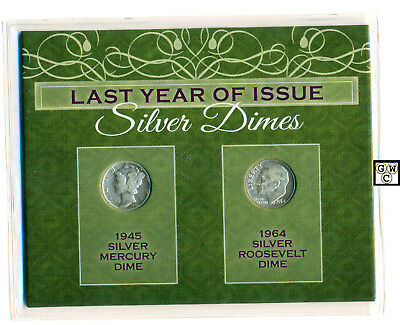U.S.A Last Year of Issue Silver Dimes 1945 Mercury & 1964 Roosevelt Dime (OOAK)